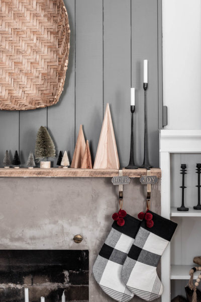 Modern Rustic Christmas Mantel Decor