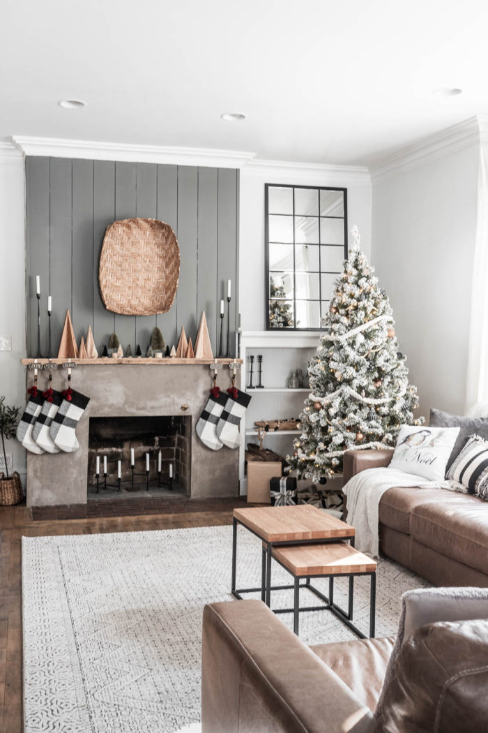 Concrete Fireplace decorated for Christmas with a Modern Rustic Style.