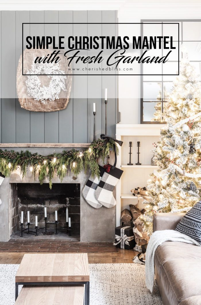 Simple Christmas Mantel with Fresh Garland.