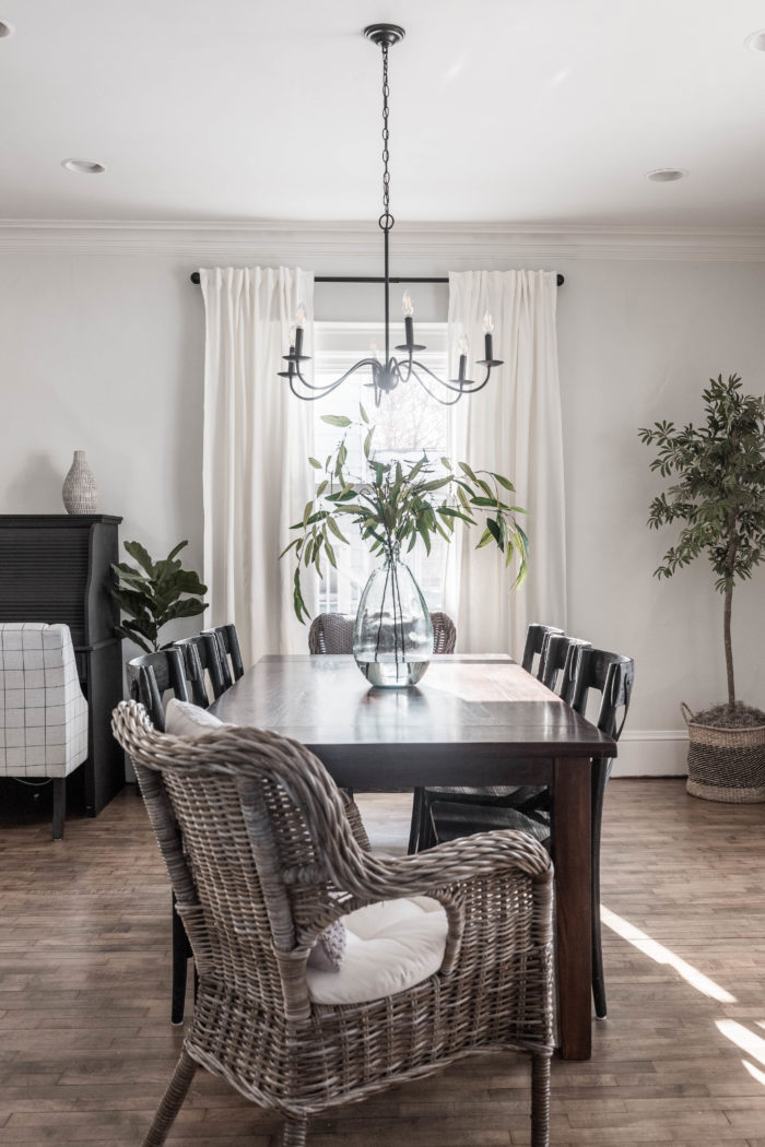 wicker chairs in formal dining room