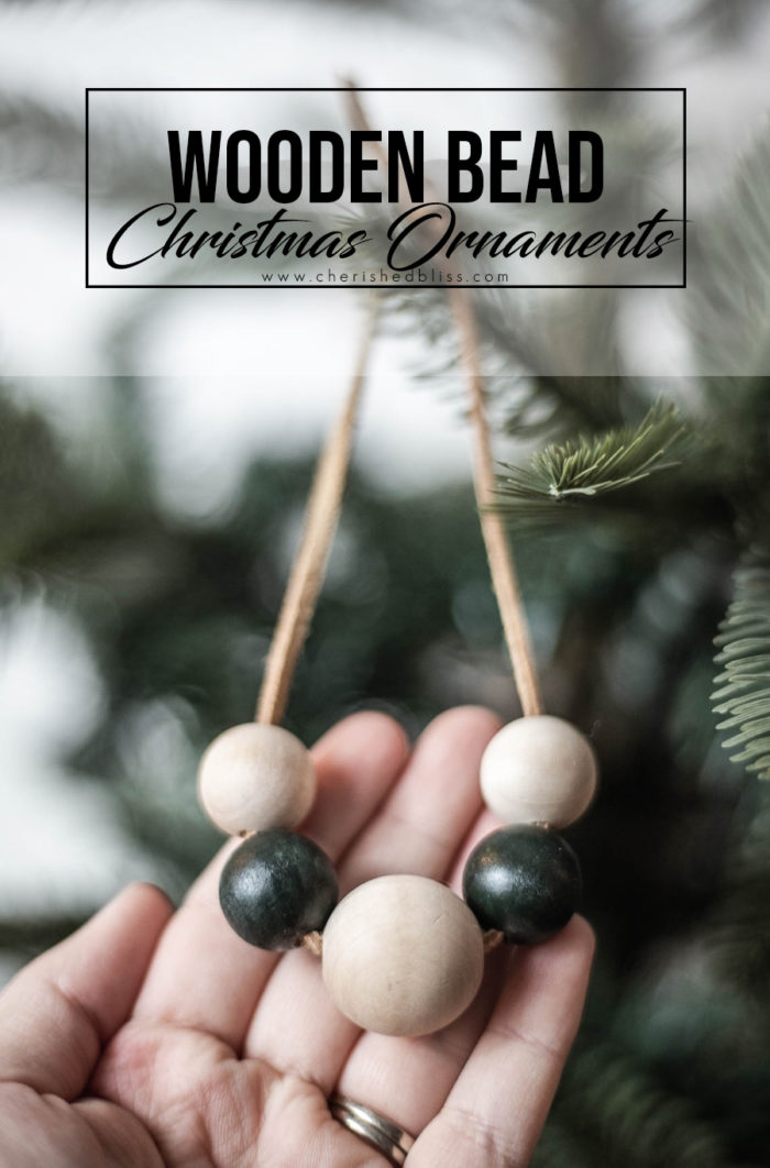 DIY Wooden Bead Christmas Ornament tutorial.