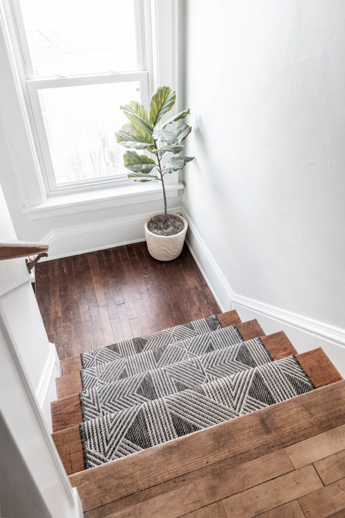 Black and White Stair Runner with Landing.