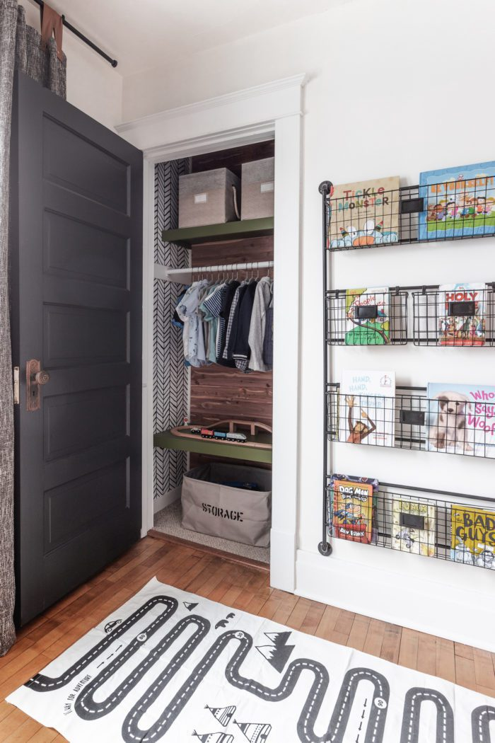 Boys bedroom with closet organization