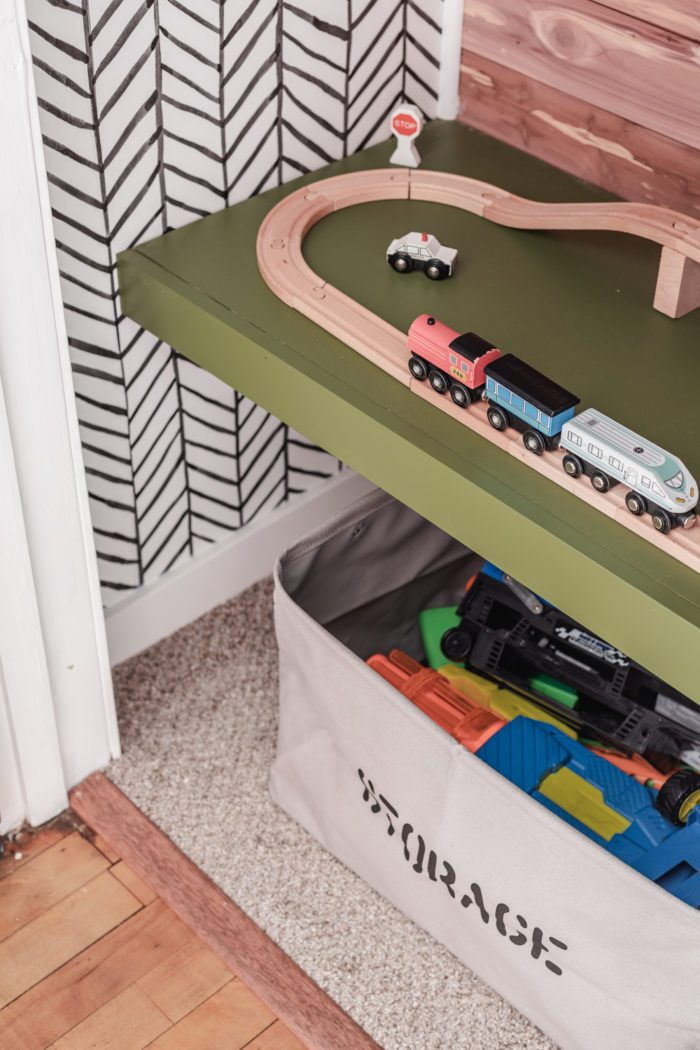 Train table in kids closet