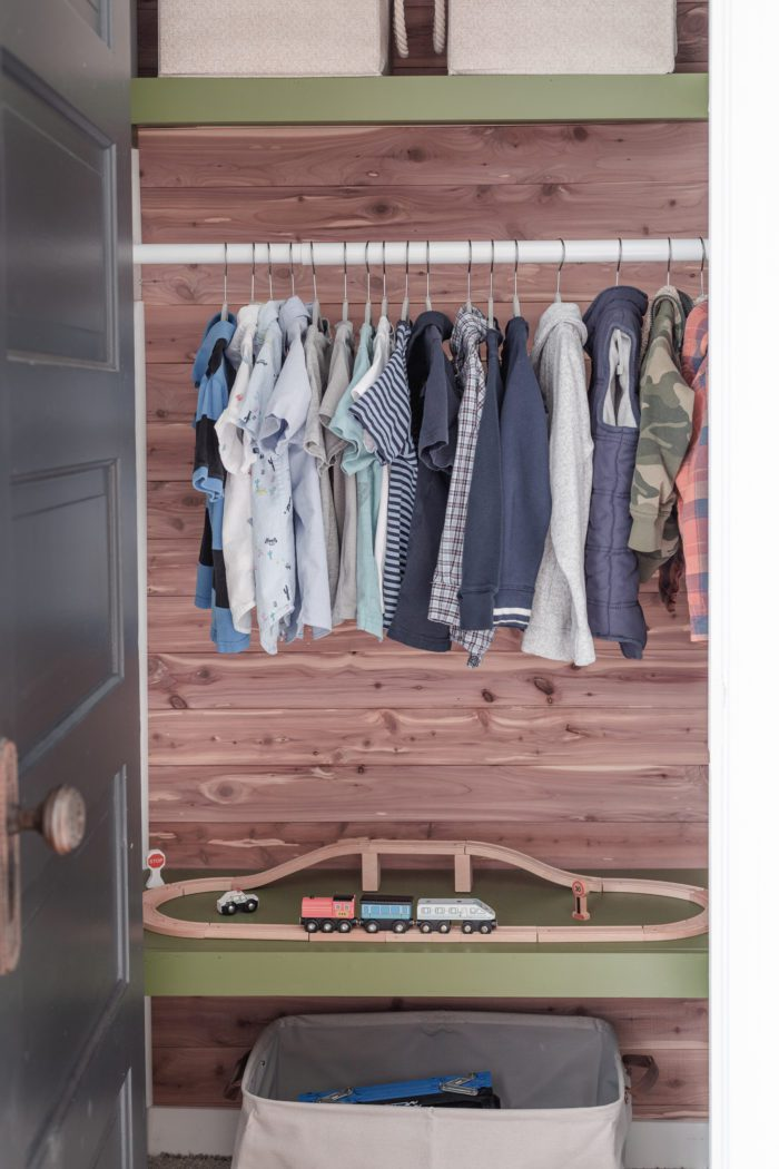 Kids Closet with floating shelves