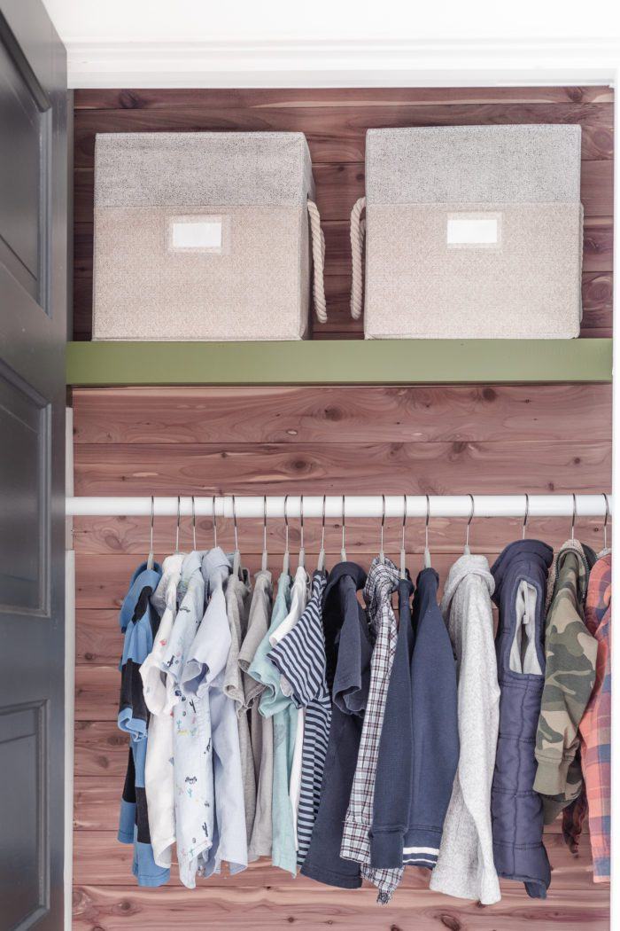 Keep clothes organized in kids closet.
