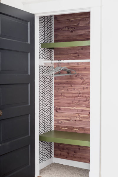 How to Install Cedar Planking in a Small Boys Closet