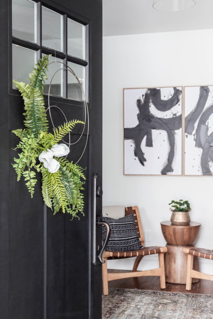Modern, Minimalist Easy DIY Spring Hoop Wreath on Black Door