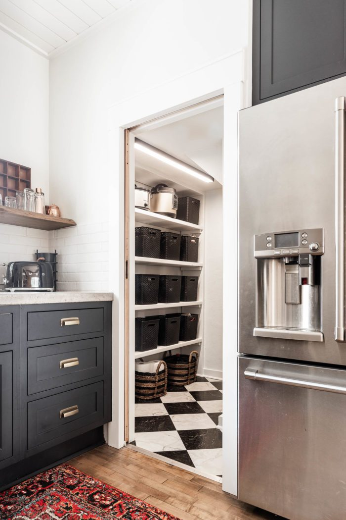 Walkin Pantry with Black & White Checkerboard Floor