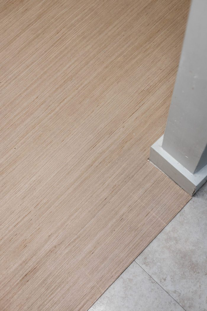 Install a new subfloor before peel and stick vinyl tiles.