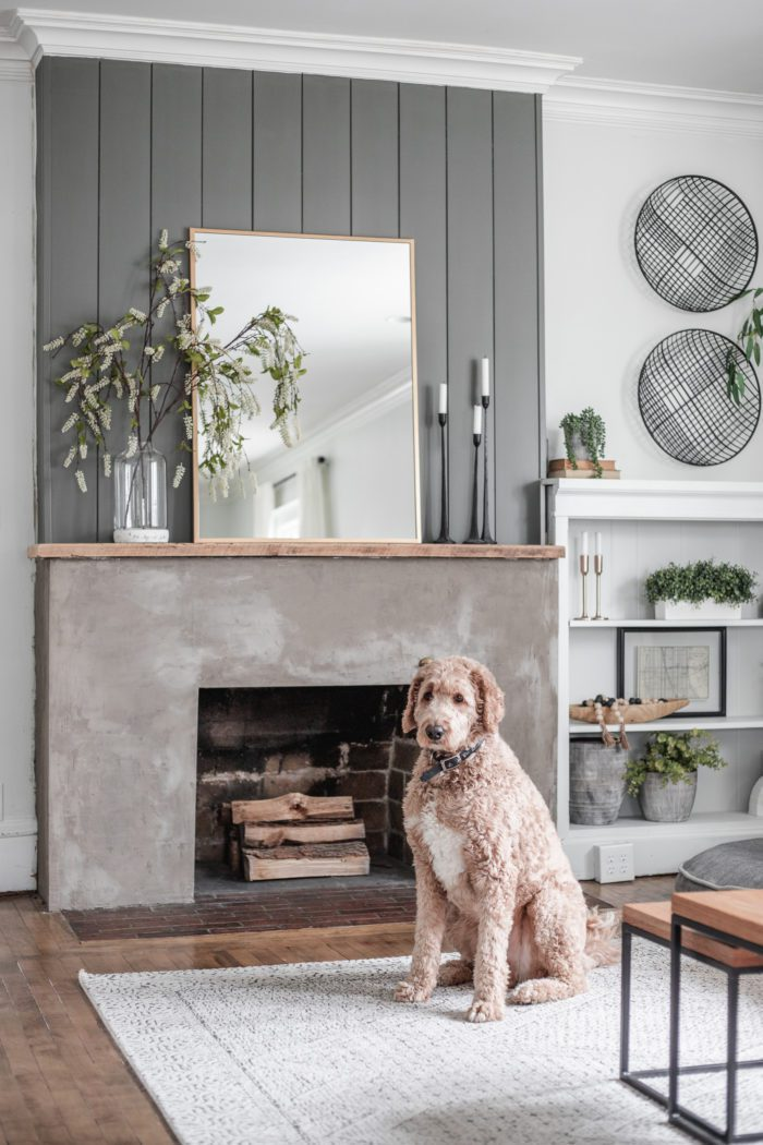 Faux Greenery used for Minimalist Spring Mantel Decor
