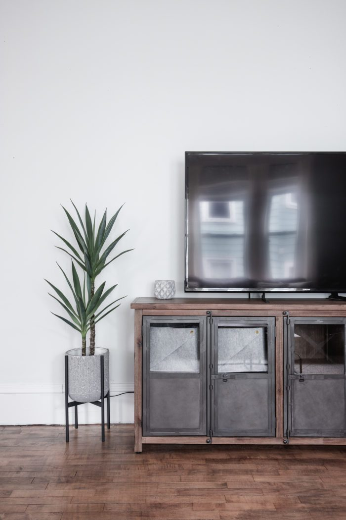 Modern Rustic TV Console in Living Room