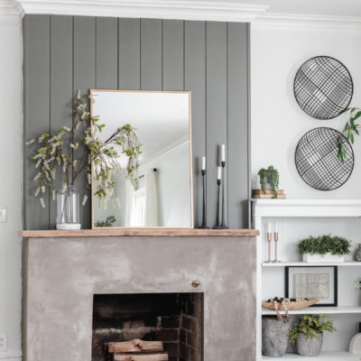 DIY Concrete Fireplace Makeover Before & After
