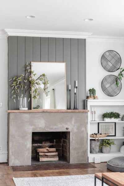 DIY concrete fireplace Makeover AFTER