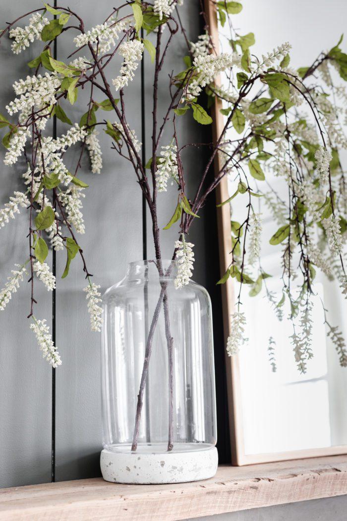 Minimalist Spring Mantel Decor
