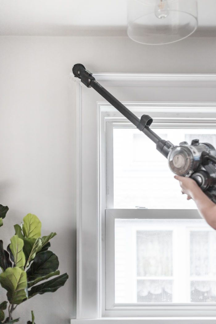 Use a Hoover Stick Vacuum the dust the tops of windows and hard to reach areas.
