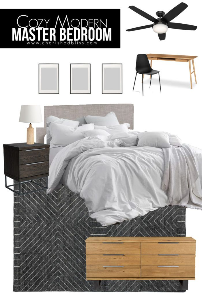 Design Board for our Master Bedroom featuring an upholstered bed, black nightstands and a white oak dresser.