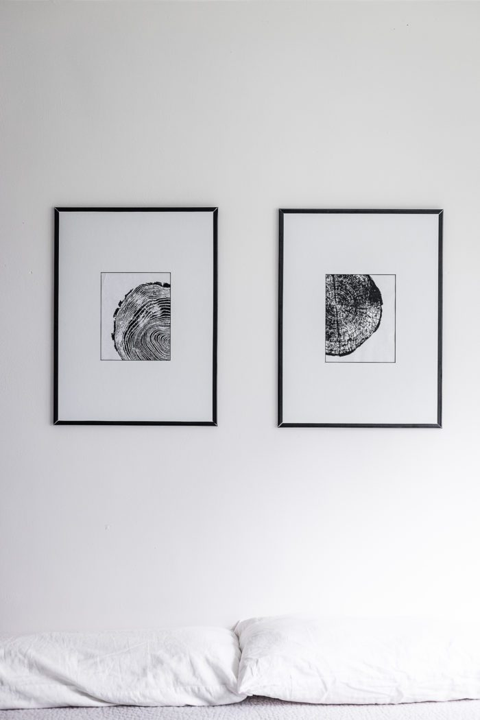 Thin black frame with tree ring art