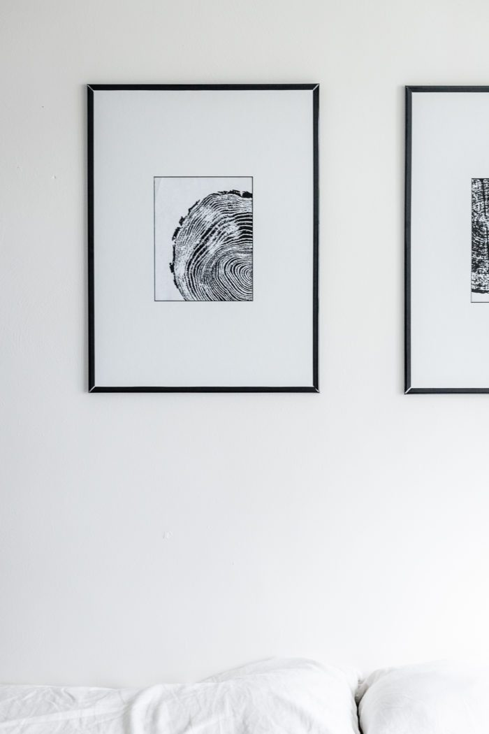 Black and White Tree Ring Art Framed on a budget.