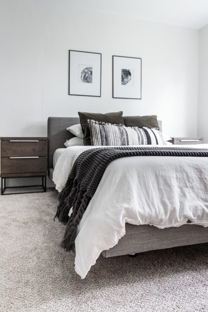 How to make a cozy minimalist bed. White Bedding and gray throw blanket.