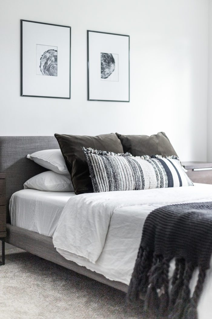 Throw Pillows on Queen Bed.