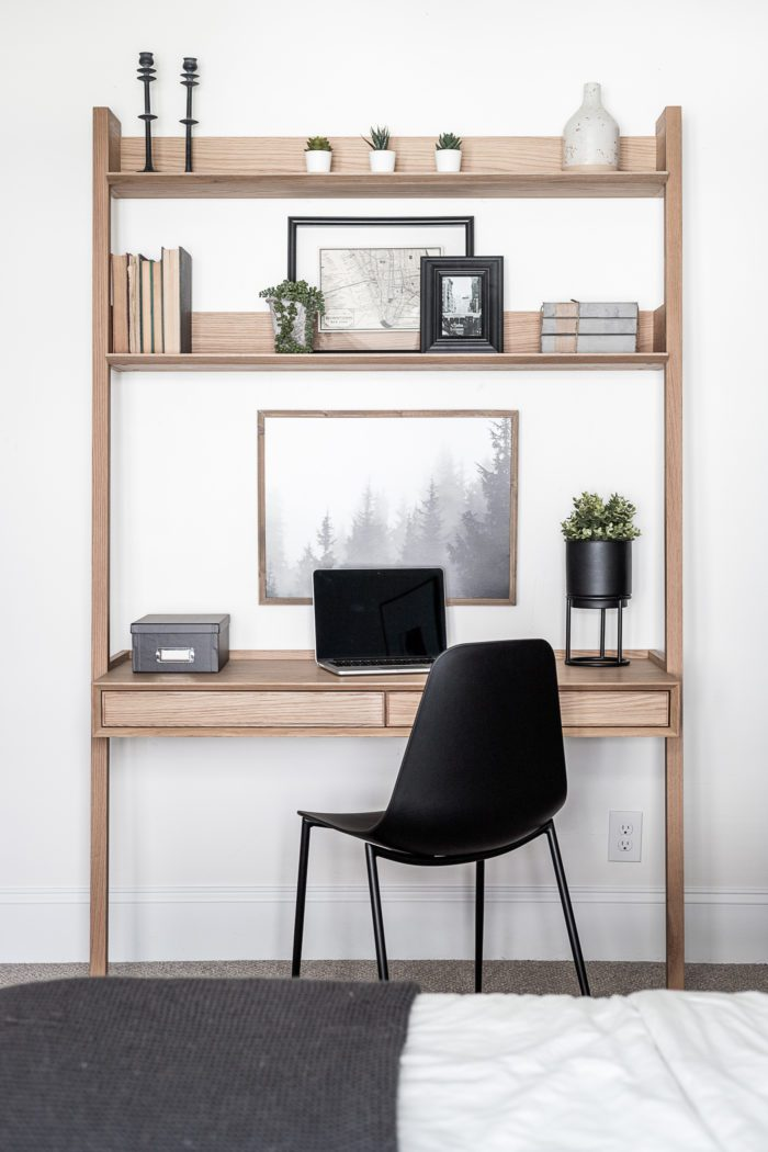 Leaning desk with built in shelves.