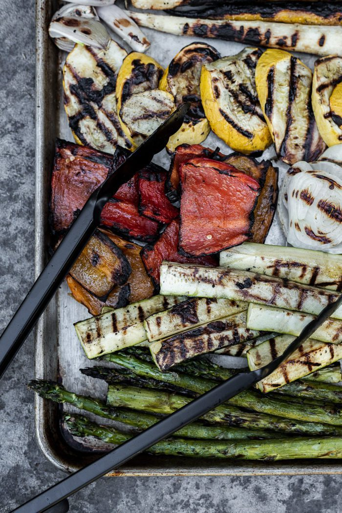 Grilled Vegetables on a cookie sheet with the perfect char.