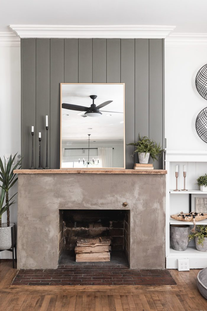 Summer Mantel Styling Ideas on a concrete fireplace with shiplap.