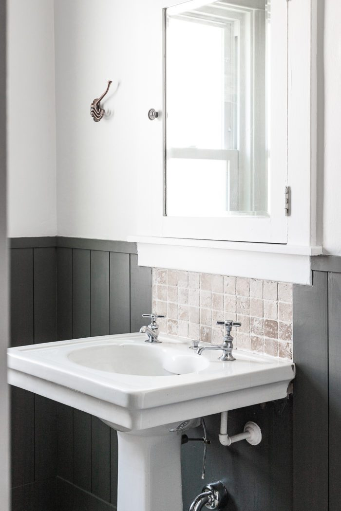 Historic Pedestal Sink with Shiplap.