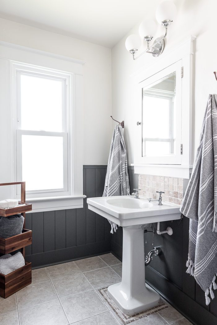 Boys Bathroom Makeover with shiplap and pedestal sink.