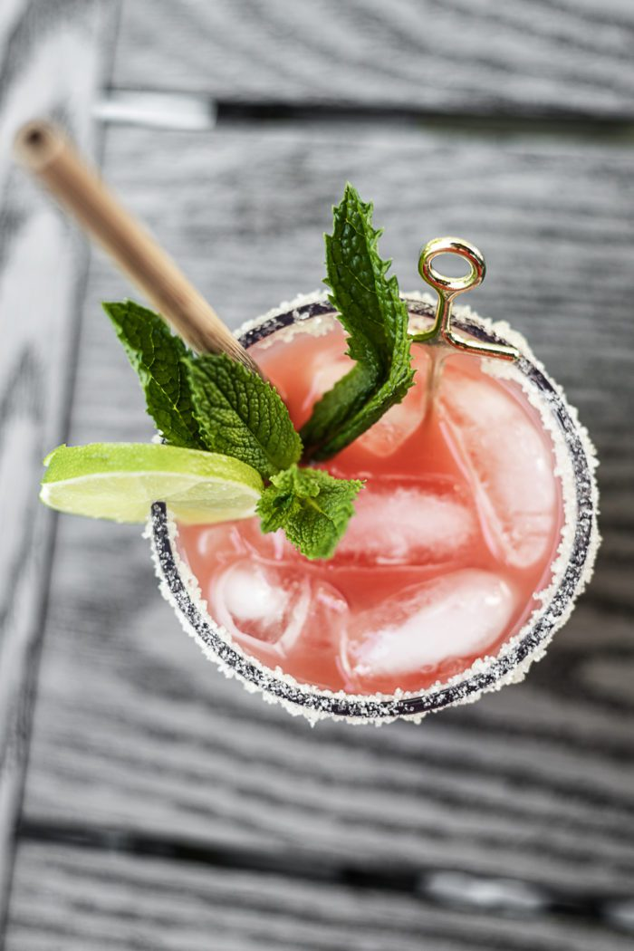 Watermelon Margarita with sugared rim.