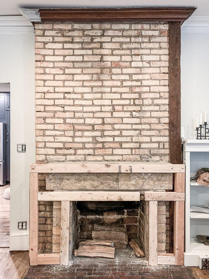 Brick Fireplace before photo