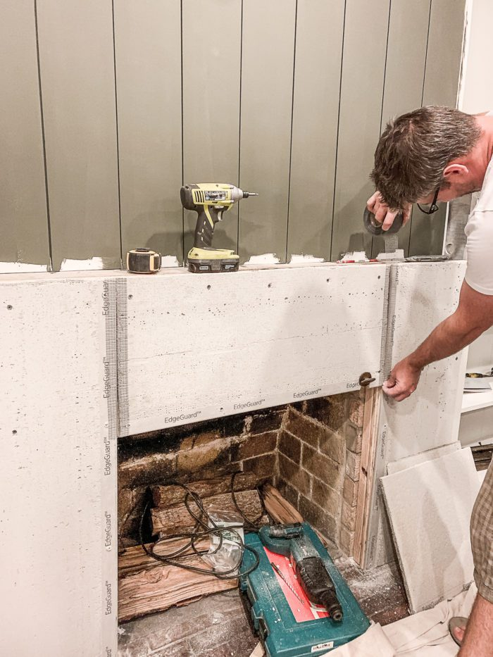 add mesh tape to cement board for a seamless look.
