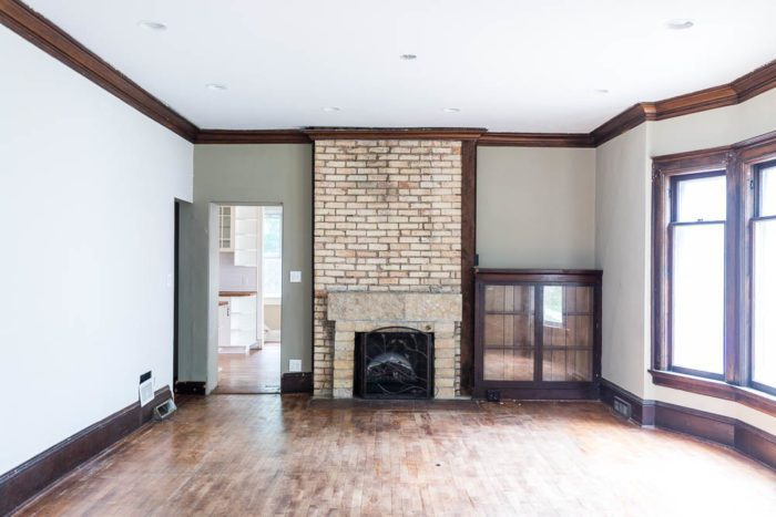 Brick Fireplace in historic home before it gets a makeover