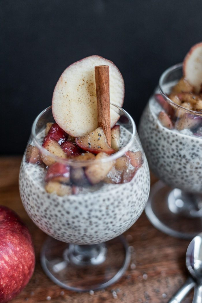 Apple Pie Chia Pudding with fresh apple compote. Gluten Free, Diary Free, Paleo friendly