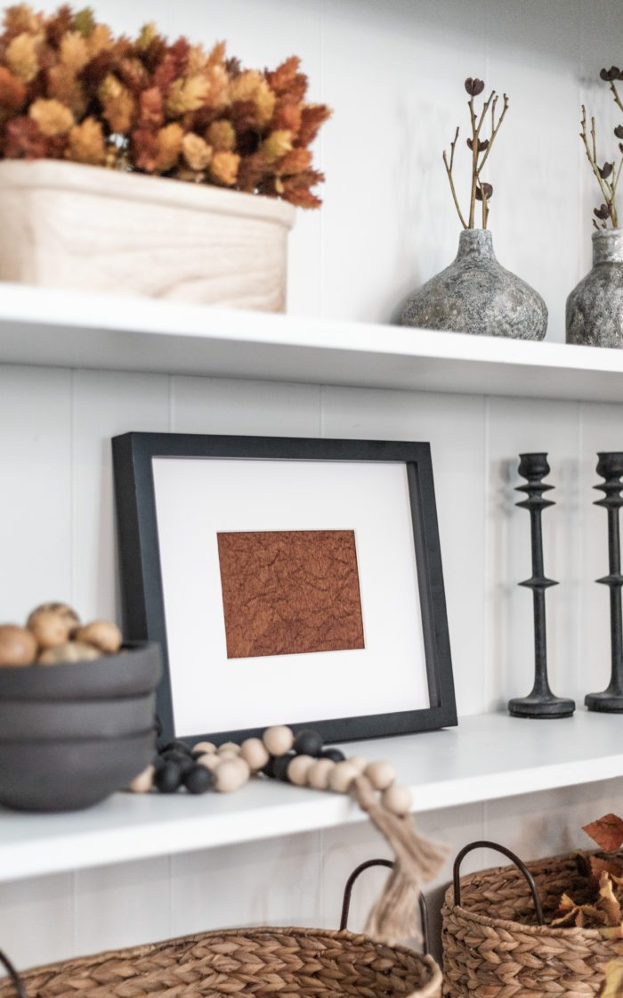 Framed Scrapbook paper makes EASY DIY Fall Decor for Shelves!