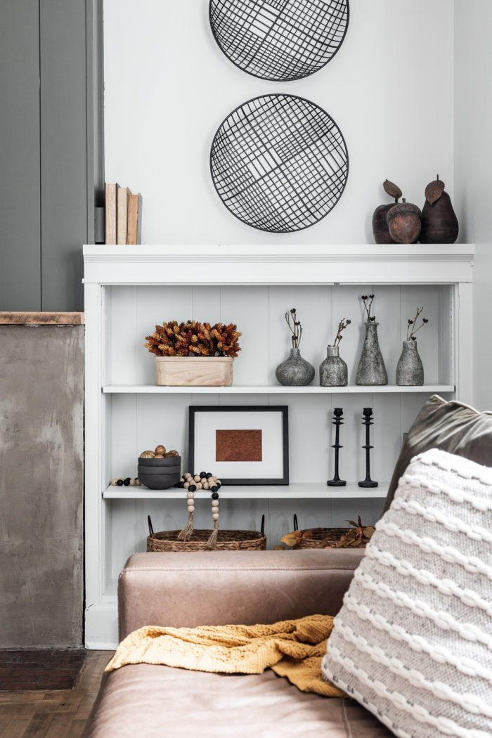 White built-in shelf with DIY Fall Shelf Decor and Accessories