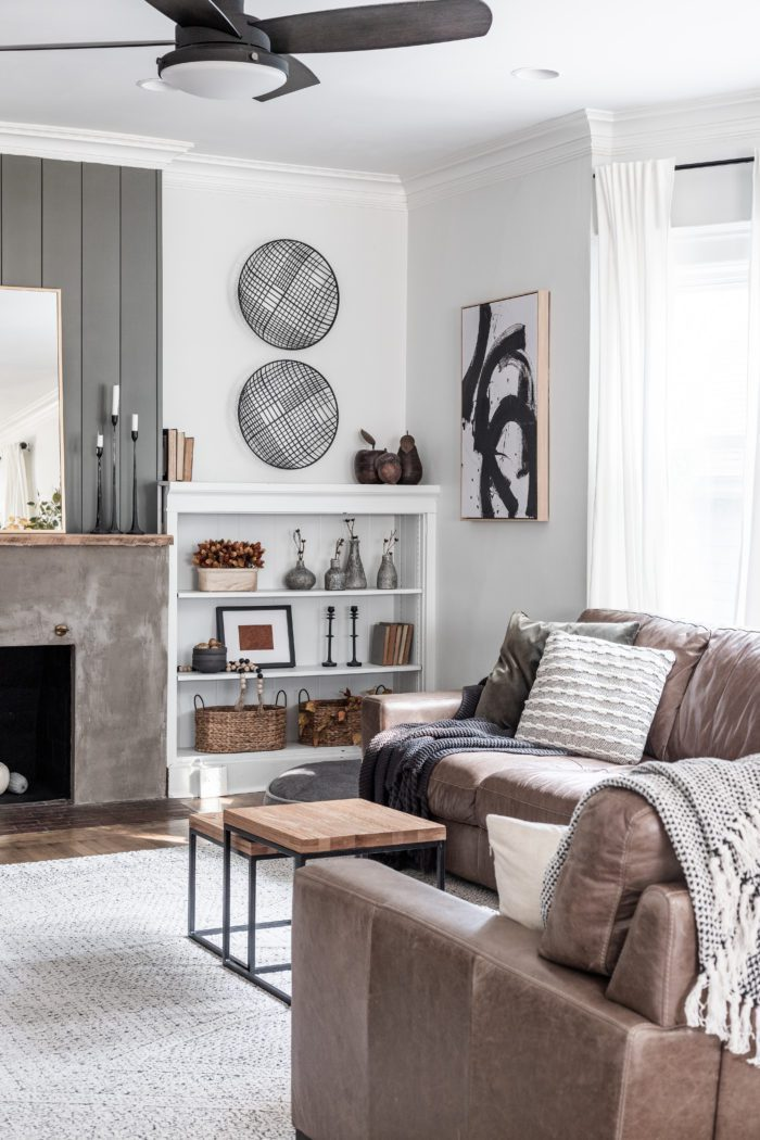 Neutral Fall Home Tour with builtins next to fireplace.
