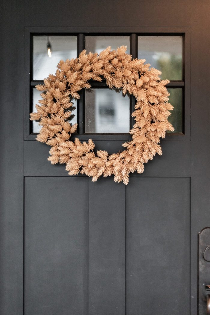 Faux Hop Fall Wreath on Black Door