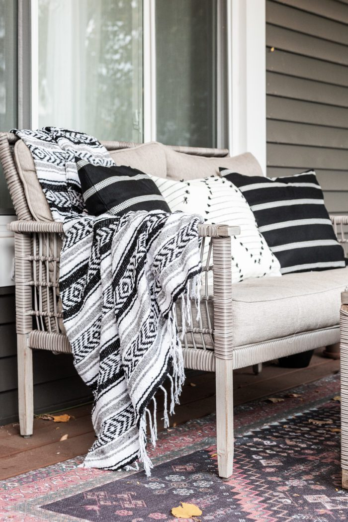 Mexican Throw Blanket on front porch