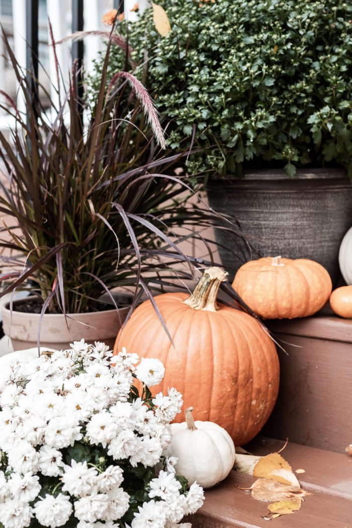Multiple sizes pumpkins on front porch stairs.