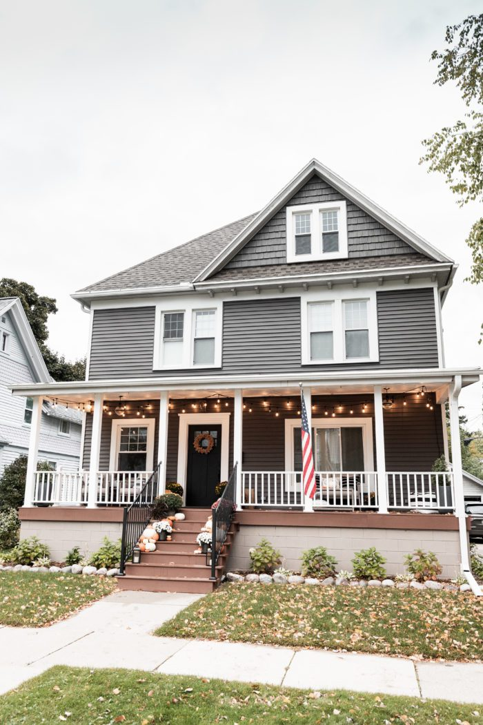 Craftsman Style House with Fall Porch Decor.