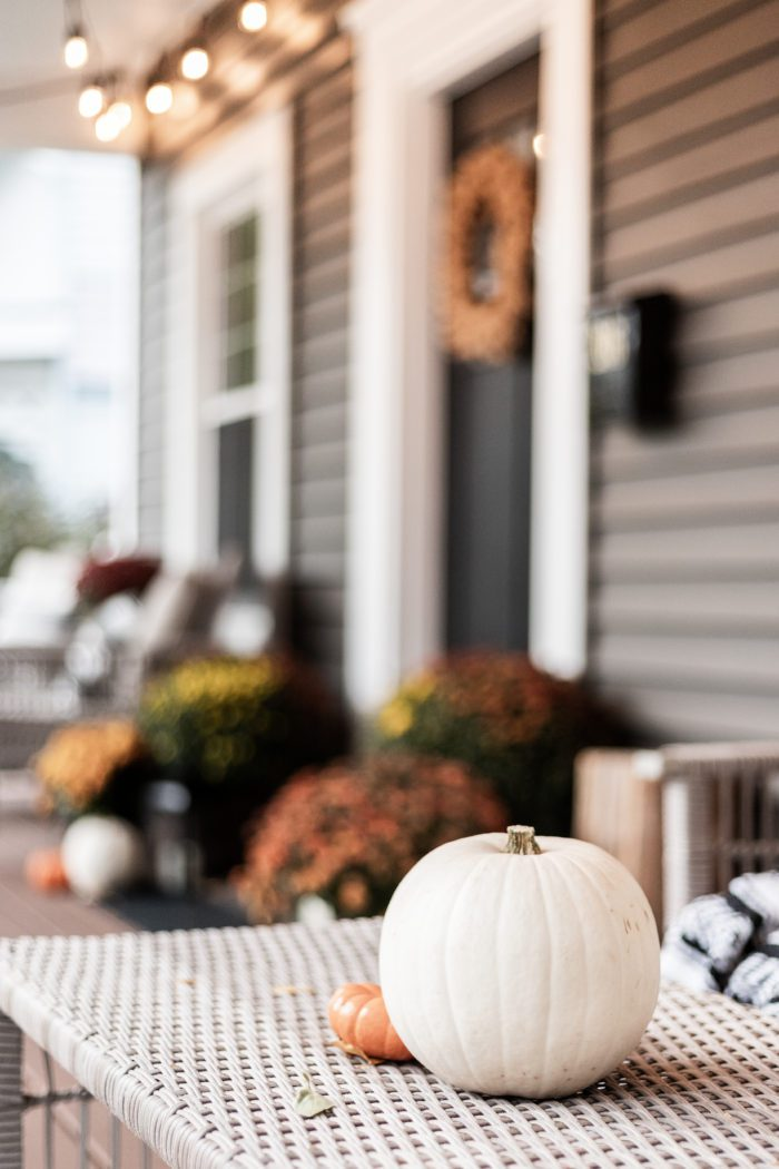 Pumpkin on Coffee Table - Front Porch Decor