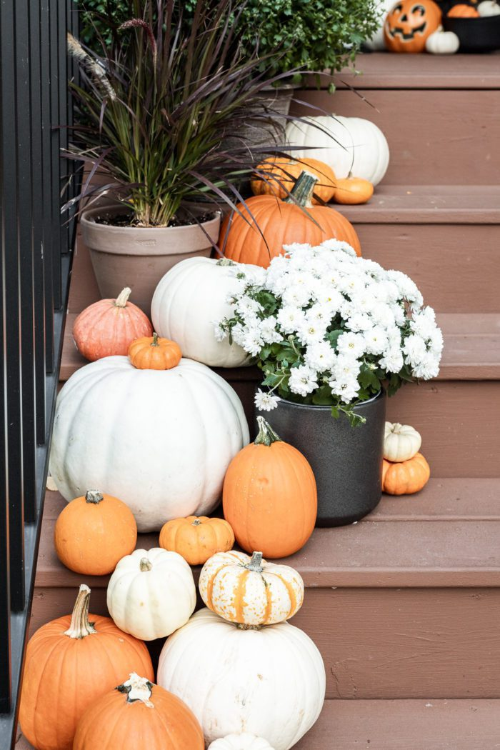 pumpkins and mums on front porch.