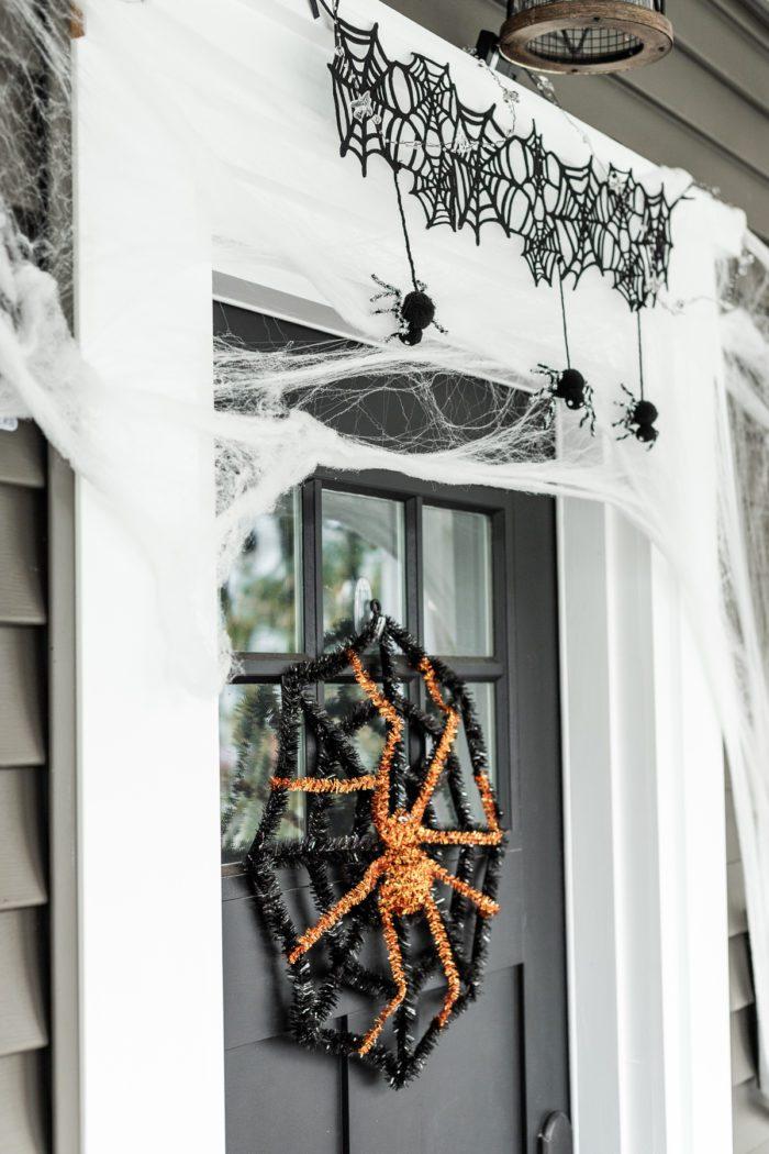Halloween spider wreath and door decor.