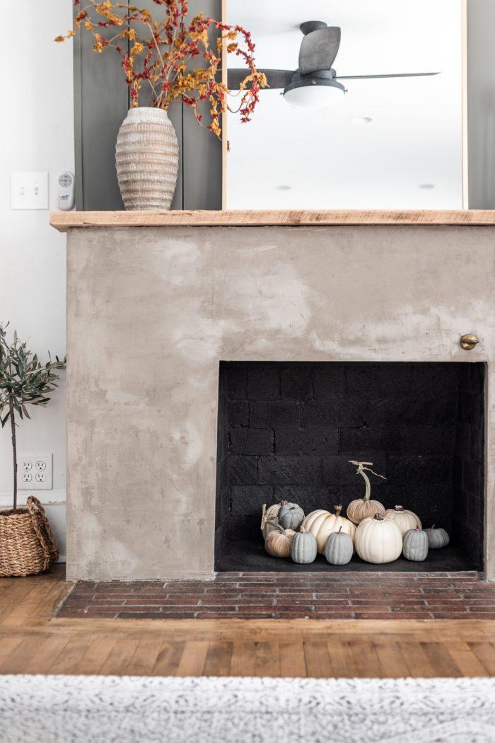 Fall Decor on Fireplace.