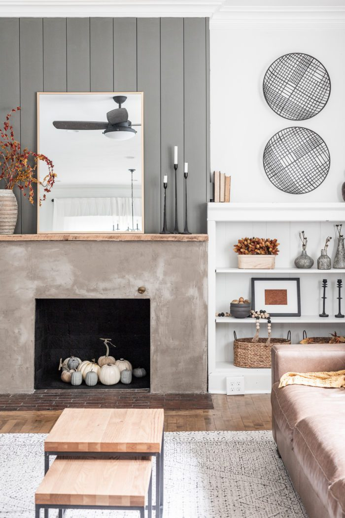 Fall Fireplace Decor with built ins.
