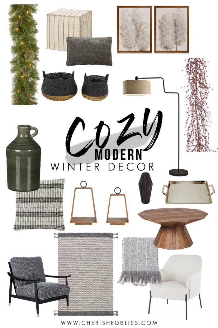 Cozy Modern Winter Decor Design Board
