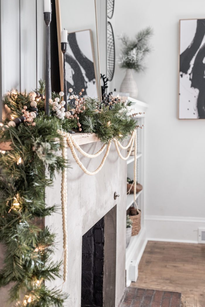 Winter Garland on fireplace mantel.