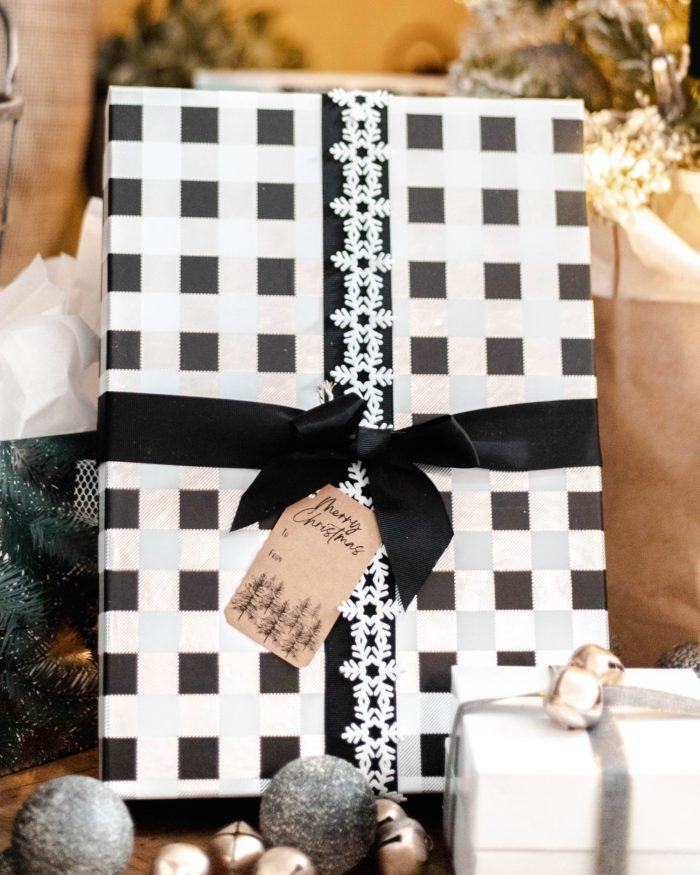Black and White Christmas Present with Kraft Paper Gift Tags